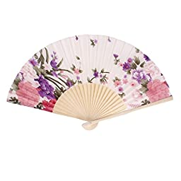 Wooden Ribs Fabric Floral Pattern Summer Folding Hand Fan White Pink