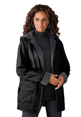 Roamans Women's Plus Size Hooded Nylon Jacket (Black,2X)