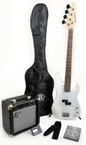Ursa 1 RN PK WT White Bass Guitar Package w/BA1565 Amp, Carry Bag &#038; Instructional DVD