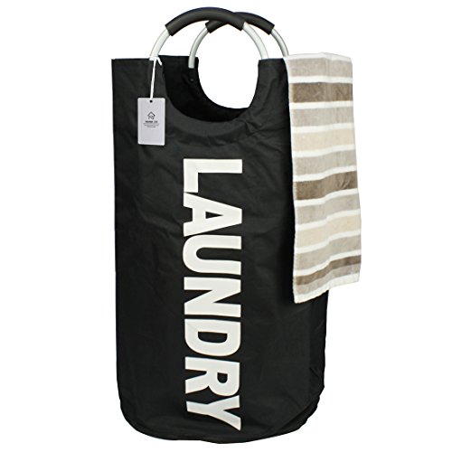 Thicken Laundry Bag with Alloy Handles for College, Camping and Home, Heavy Duty and Durable Canvas Utility, Shopping or Travel Bag, Collapsible and Self Standing as Laundry Basket (Black) (Tall Laundry Basket Black compare prices)