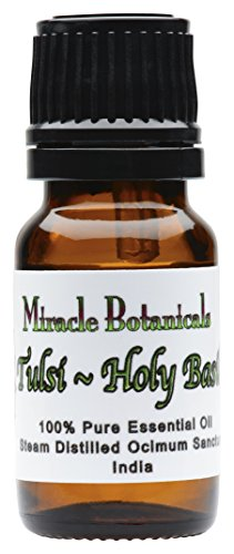 Miracle Botanicals Tulsi Holy Basil Essential Oil - 100% Pure Ocimum Sanctum - 10ml and 30ml Sizes - Therapeutic Grade - 10ml