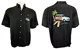 Go Barefoot 100% Silk, Black Colored, Embroidered Short Sleeve, Banded Collar, Contemporary Style Men's Shirt with Batch Pockets, Side Vents and Matching Coconut Buttons - Cruisin in Paradise (Large)