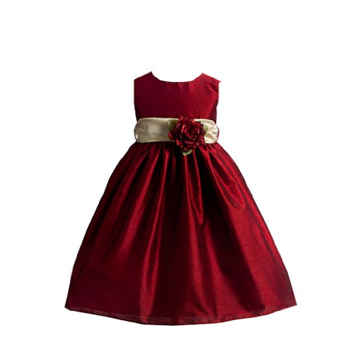 Clarissa Flower Girl Dress With Rose Accented Sash For Infants Fancy Dress Color: Red Fancy Dress Size: 24M (24 Months)