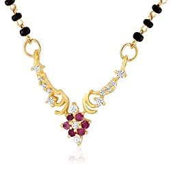 Mahi Gold Rhodium Plated Alliance Mangalsutra Pendant of Brass Alloy with CZ for Women PS1193519G
