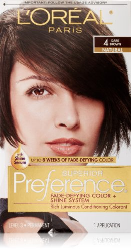 L'Oreal Paris Superior Preference Fade-Defying Color + Shine System, 4 Dark Brown (Packaging May Vary)