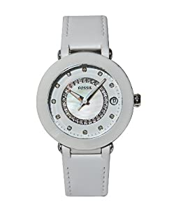 Fossil ES3362 White Leather Band Ceramic Face with Diamonds Women's Watch