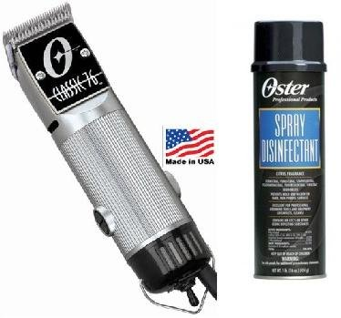 Combo Limited Edition Oster 76 Silver Clipper and 16 oz Spray Disinfectant (Oster Clipper Spray compare prices)