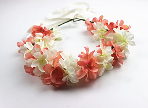 Hawaiian Artificial Hydrangea Flowers Crown Hippy Flower Headband Hair Accessories Piece Headpiece Headdress Floral Headwear Head Wreath Garland for Wedding Decoration Hippies Women Girls (Coral Pink)