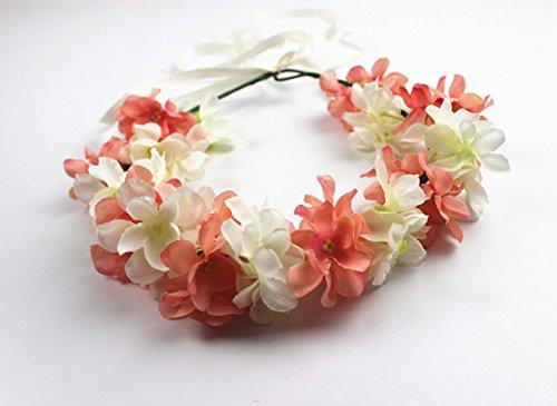 Hawaiian Artificial Hydrangea Flowers Crown Hippy Flower Headband Hair Accessories Piece Headpiece Headdress Floral Headwear Head Wreath Garland for Wedding Decoration Hippies Women Girls (Coral Pink)