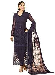 New Dark Blue Nazneen Chiffon Designer Dress Material