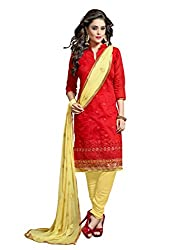 7 Colors Lifestyle Red Coloured Embroidered Chanderi Unstitched Dress Material