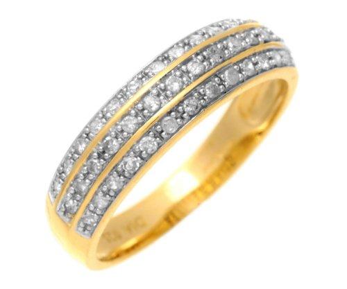 9ct Yellow Gold 0.25ct Three Row Diamond Half Eternity Ring