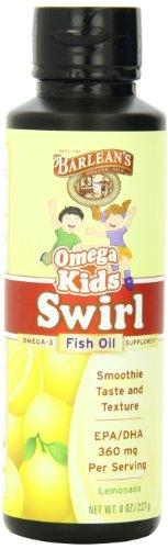 Barlean'S Organic Oils Kid'S Omega Swirl Fish Oil, Lemonade Flavor, 8 Ounce Bottle front-478881