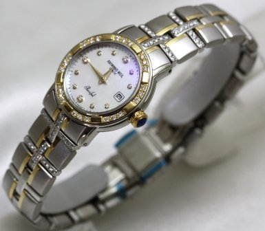 Raymond Weil Watches Raymond Weil Parcifal Steel and 18k Gold Mother of Pearl Dial Diamond Hour Markers Diamond Bezel and Bracelet Date Swiss LIMITED EDITION Women's Watch