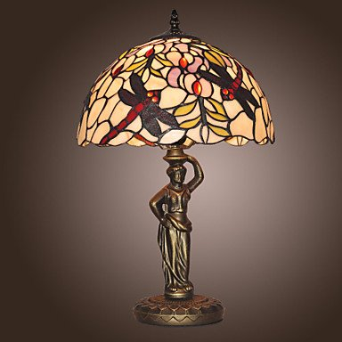 Tiffany Style Dragonfly Pattern Stained Glass Table Lamp front-439818