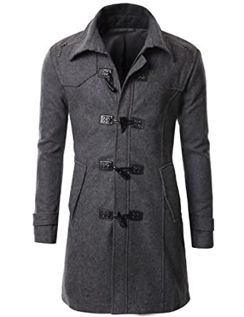 Buy Doublju Mens Wool Duffle Coat