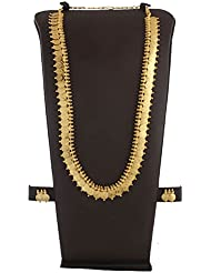 Anuradha Art Golden Tone Styled With Shimmering Stone Classy Traditional Long Necklace Set For Women/Girls