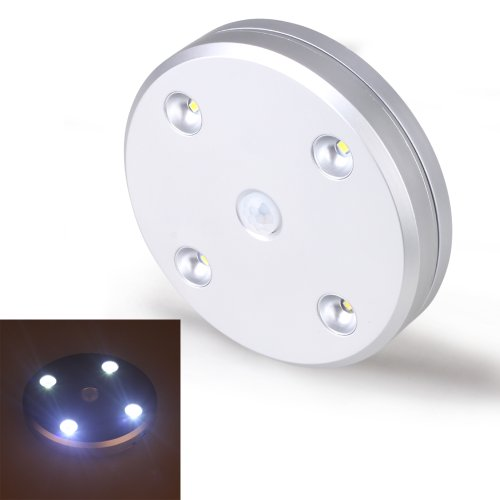 Kohree® Pir Motion Sensor White 4 Led Usb Rechargable Cabinet Wardrobe Drawer Light