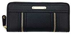 Michael Kors Moxley Black Zip Around Continental Leather Wallet Purse (Black)