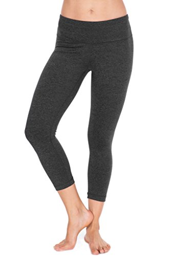 90 Degree By Reflex - Power Flex Yoga Capri - Cationic Heather Activewear Pants - Heather Charcoal Small