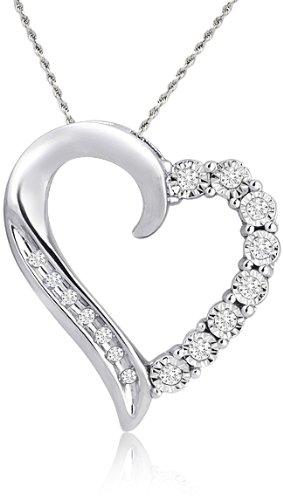 "10k White Gold Round Shaped Diamond Heart Pendant (1/10 cttw, I-J Color, I1-I2 Clarity), 18"""