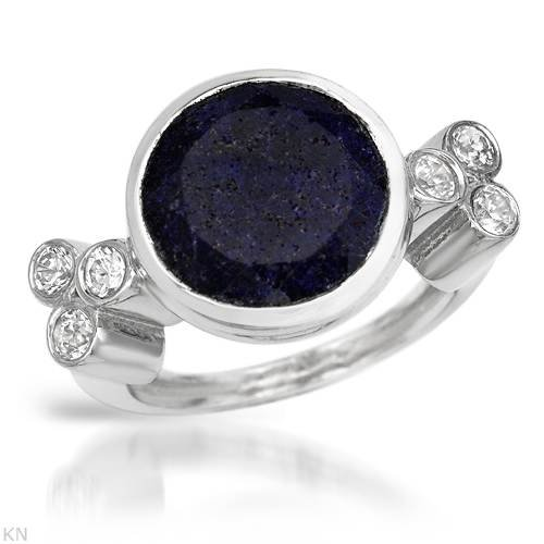 Ring With 1.20ctw Cubic zirconia and Lapis lazuli Beautifully Crafted in 925 Sterling silver. Total item weight 7.1g (Size 6.5)