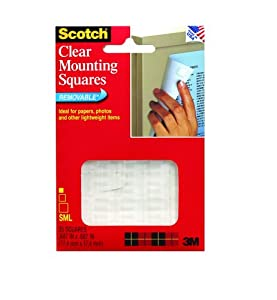 3M Scotch Mounting Squares, Clear, .68-Inch by .68-Inch, 35-Pack
