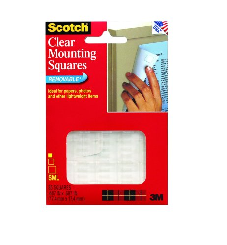 3M Scotch Mounting Squares, Clear, .68-Inch By .68-Inch, 35-Pack front-164681