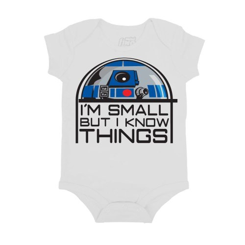 Star Wars Small But Know Things R2D2 Mini Fine Movie Baby Creeper Romper Snapsuit Snapsuit Size: 12-18 Months