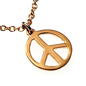 Small Peace Symbol Gold-dipped Pendant Necklace on 18