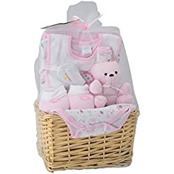 Big Oshi Baby Essentials 9 Piece Layette Basket Gift Set, Pink