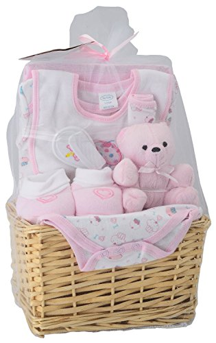 Big Oshi Baby Essentials 9 Piece Layette Basket Gift Set, Pink (Gift Basket Baby compare prices)