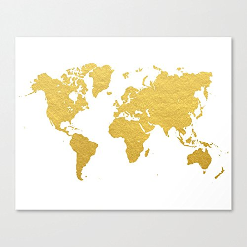 Ushopping - Gold World Map - Canvas Prints Artwork 12