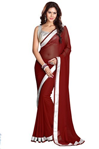 Sourbh Sarees Women's Maroon Faux Georgette Saree with Unstitched Blouse Piece