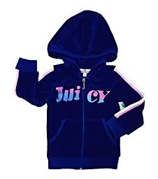 Juicy Couture Toddler Girl Size 2T - Regal Zip Down Hoodie W/fun Is Back Navy