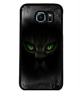 PRINTVISA Black Night Premium Metallic Insert Back Case Cover for Samsung Galaxy S6 - D5667