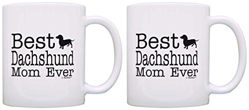Dog Owner Gift Best Dachshund Mom Ever Weiner Dog Pet Owner 2 Pack Gift Coffee Mugs Tea Cups White (Weiner Dog Picture compare prices)