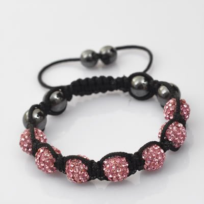 QUALITY PINK SHAMBALLA CRYSTAL DISCO BALL FRIENDSHIP BRACELETS