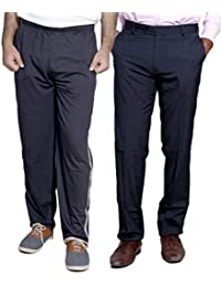 Indistar Mens Formal Trousers With Men's Premium Cotton Lower (Length Size -38) With 1 Zipper Pocket And 1 Open Pocket (Pack Of -1 Lower With 1 Trouser) - B01GEIOGYW