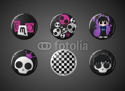 Wallmonkeys Peel and Stick Wall Decals - Set of Emo Style Badges - 24