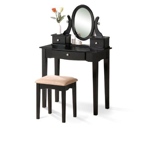 Black Finish Traditional Wood Vanity with Bench Mirror & Jewelry Boxes