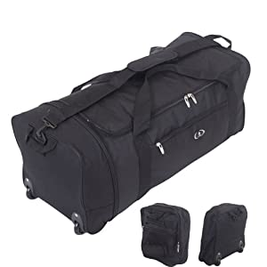 32 Inch Large Folding Wheeled Travel Sports Cargo Holdall Duffle Bag