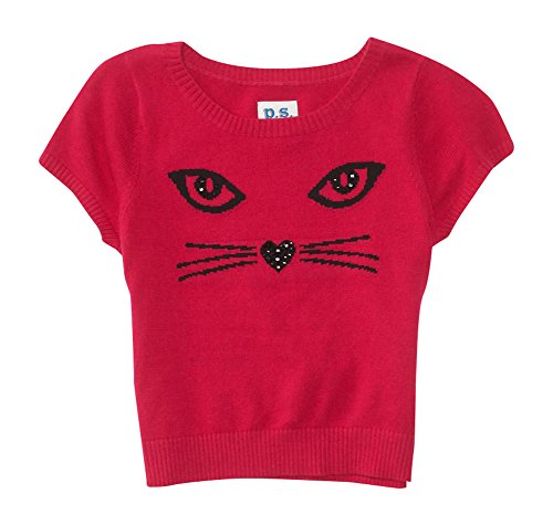 P.S. From Aeropostale Girls Embellished Cat Crop Sweater 12 Electric Pink Neon