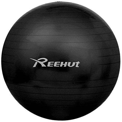 Reehut Anti-Burst Core Exercise Ball for Yoga, Balance, Workout, Fitness w/ Pump (Black, 75CM)