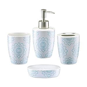 Zeller 18268 bathroom accessories 4 part set ceramic for Floral bathroom accessories set