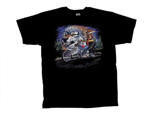 Biker T-Shirt Wolf & Biker Riding Motorcycle-Large