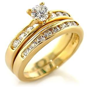 W-293 Elegant Two Piece Wedding Ring Set 18kt Gold EP Sizes Available in 5-10 Lifetime Guarantee Anniversary Engagement Band
