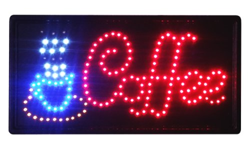 "Animated Led Neon Light Coffee Sign With On/Off Switch And Chain 19"" X 10"""