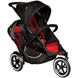 Phil&Teds Classic Stroller w/ Doubles Kit + Canopy for Doubles Kit, Red/Black