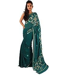 Dark Blue Wedding Saree Designer Embroidery Stone Work Georgette Sari